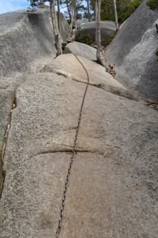 Chains to help you up the smooth granite