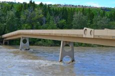 The Bow River in Calgary - at the height of the flood, was up to the bridge deck
