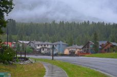Houses along Cougar Creek - look closely, half the road is gone, porches falling