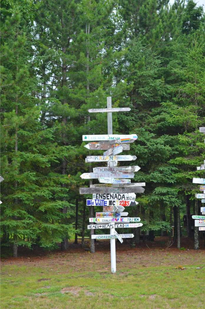 Signpost on the hostel grounds - 18km East of Thunder Bay