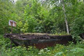 Walking around Nipigon woods - a boat