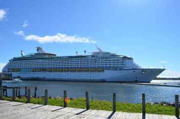 The cruise ship docked in Charlottetown